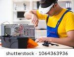 computer repair technician... | Shutterstock . vector #1064363936