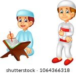 funny islamic man cartoon learn ...   Shutterstock .eps vector #1064366318