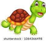 funny turtle cartoon walking...   Shutterstock .eps vector #1064366498