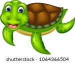 cute turtle cartoon crawl with...   Shutterstock .eps vector #1064366504