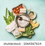 pasta with wild garlic cooking... | Shutterstock . vector #1064367614