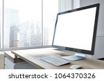 close up of a computer screen... | Shutterstock . vector #1064370326