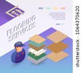 flooring services. isometric... | Shutterstock .eps vector #1064370620