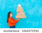 woman with many cardboard boxes ... | Shutterstock . vector #1064372933