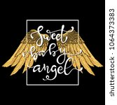 hand drawn wings and lettering... | Shutterstock .eps vector #1064373383