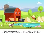 ranch house  farm building and...   Shutterstock .eps vector #1064374160