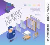 window installing service.... | Shutterstock .eps vector #1064375330