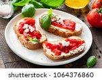 italian antipasti bruschetta... | Shutterstock . vector #1064376860