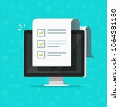 computer and checklist vector... | Shutterstock .eps vector #1064381180