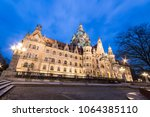 Stock photo hannover germany night view of the new town hall neues rathaus a magnificent castle like city 1064385110