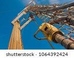 drilling rig for drilling oil...   Shutterstock . vector #1064392424