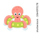 pink octopus on green... | Shutterstock . vector #1064395178