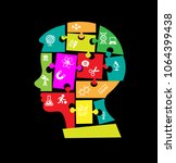 puzzles in the form of a man's... | Shutterstock .eps vector #1064399438