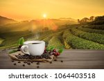 hot coffee cup with fresh... | Shutterstock . vector #1064403518