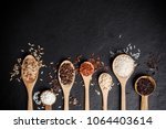mixed organic raw rice in... | Shutterstock . vector #1064403614