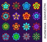 set of flat flowers on white... | Shutterstock .eps vector #1064415794