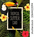 tropical summer card | Shutterstock .eps vector #1064422094