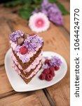 raspberry naked cake | Shutterstock . vector #1064424770