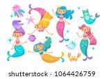 under the sea   little mermaid  ... | Shutterstock .eps vector #1064426759