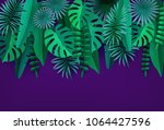 green tropical leaves and... | Shutterstock .eps vector #1064427596