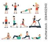 men and women workout set... | Shutterstock .eps vector #1064432543