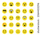 set of yellow round emoticons... | Shutterstock .eps vector #1064433296