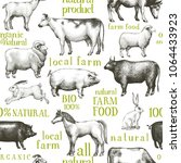 vector farm animals background. ... | Shutterstock .eps vector #1064433923