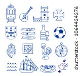 portugese icon set vector... | Shutterstock .eps vector #1064434376