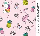 unicorn flamingo pineapple... | Shutterstock .eps vector #1064434778
