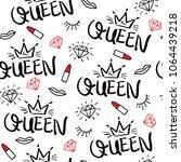 queen typography  diamond ... | Shutterstock .eps vector #1064439218