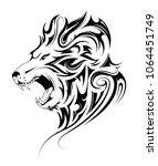 lion head tattoo in tribal art... | Shutterstock .eps vector #1064451749