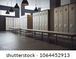 modern locker room gym school... | Shutterstock . vector #1064452913