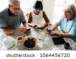 group of diverse senior people... | Shutterstock . vector #1064456720