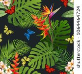 seamless pattern with tropical... | Shutterstock .eps vector #1064464724