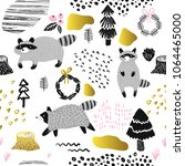 seamless pattern with cute... | Shutterstock .eps vector #1064465000