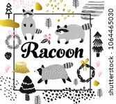 cute racoon hand drawn design.... | Shutterstock .eps vector #1064465030