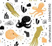 seamless pattern with cute... | Shutterstock .eps vector #1064465540