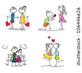 cute cartoon couple doodle with ... | Shutterstock .eps vector #106446626