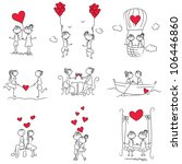 cartoon couple doodle with red... | Shutterstock .eps vector #106446860