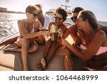 group of friends having fun on... | Shutterstock . vector #1064468999
