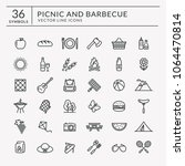 picnic and barbecue web icons.... | Shutterstock .eps vector #1064470814
