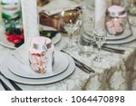 beautiful decorated setting on... | Shutterstock . vector #1064470898