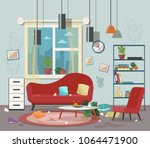 dirty  cluttered  messy living... | Shutterstock .eps vector #1064471900