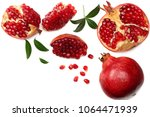 pomegranate fruit with green... | Shutterstock . vector #1064471939