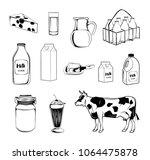 milk objects collection. set of ... | Shutterstock . vector #1064475878