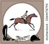 equestrian sport horse rider... | Shutterstock .eps vector #1064478794