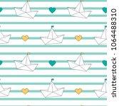 cute cartoon paper boats...   Shutterstock .eps vector #1064488310
