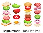 burger and sandwich ingredients ... | Shutterstock .eps vector #1064494490