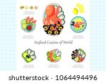 seafood cuisine of world  crab  ... | Shutterstock .eps vector #1064494496