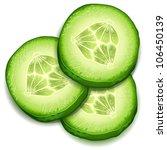 fresh cucumber slice isolated...   Shutterstock .eps vector #106450139
